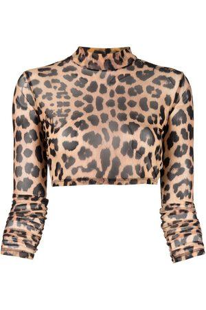 Philipp Plein Women Crop Tops - Leopard-print cropped top
