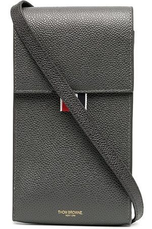 Thom Browne Pebbled calf leather phone holder - Grey