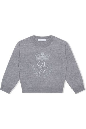 Dolce & Gabbana Sweaters - Logo-embroidered jumper - Grey
