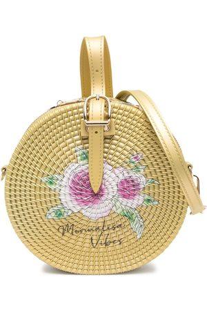 MONNALISA Woven wicker tambourine bag - Neutrals