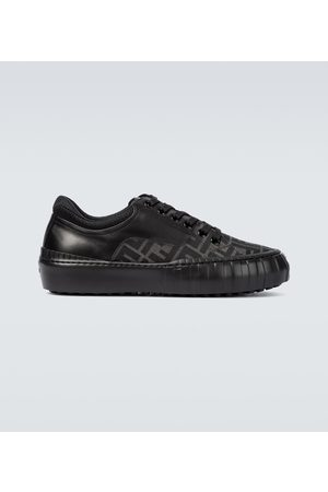 Fendi Men Sneakers - FF leather and canvas sneakers