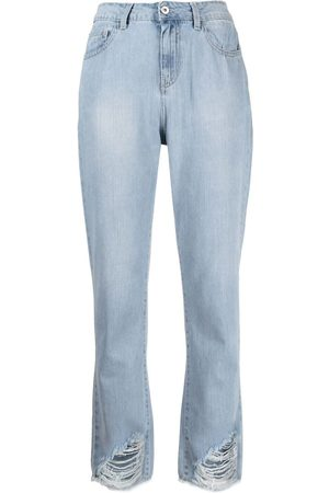 Twin-Set High-rise frayed-edge bootcut jeans