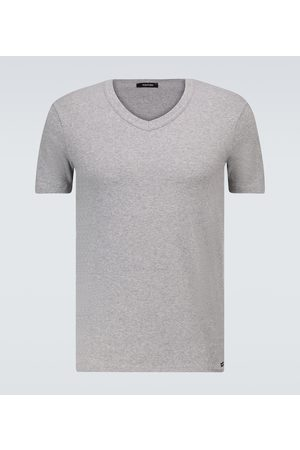Tom Ford Men Short Sleeve - Stretch-cotton V-neck T-shirt
