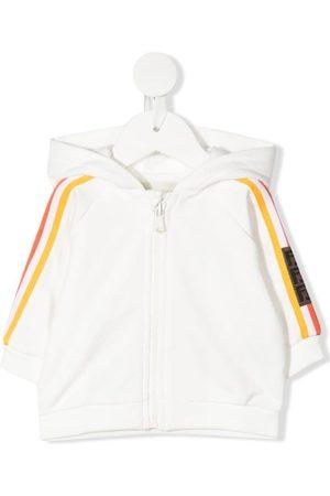 Fendi Hoodies - Stripe-detail zip-fastening hoodie