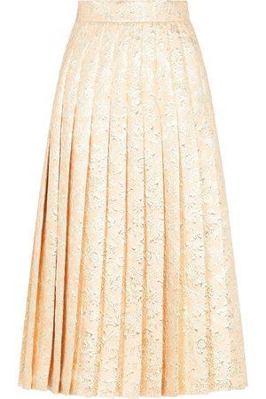 Dolce & Gabbana Women Midi Skirts - Pleated jacquard midi skirt - Neutrals