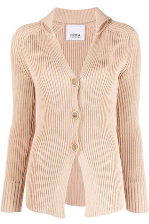 ERIKA CAVALLINI Women Cardigans - Ribbed-knit V-neck cardigan - Neutrals