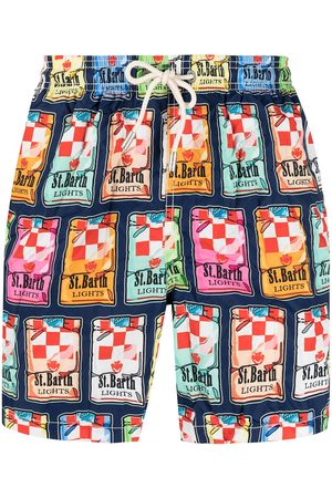 MC2 SAINT BARTH Men Swim Shorts - Sticker-print swim shorts