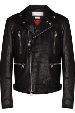Alexander McQueen Men Leather Jackets - Leather biker jacket