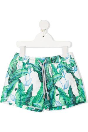MC2 Saint Barth Kids Boys Swim Shorts - Tropical-leaves swim shorts