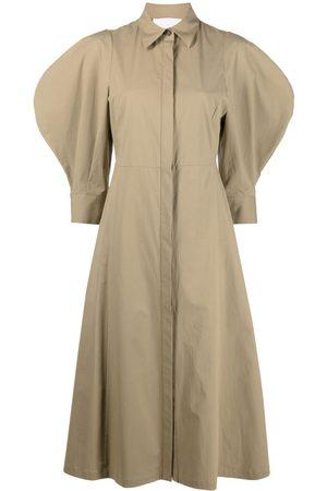 ERIKA CAVALLINI Women Casual Dresses - Puff-sleeve shirt dress - Neutrals