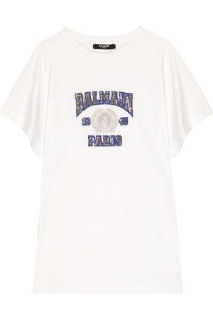 Balmain Logo sequined cotton T-shirt