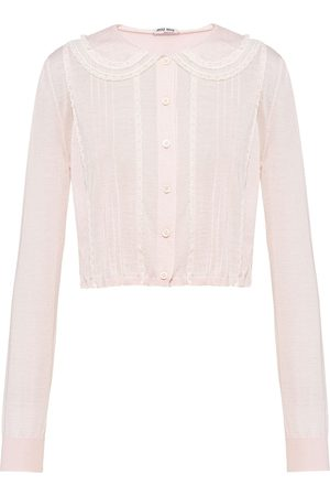Miu Miu Women Cardigans - Lace-trim cashmere cardigan