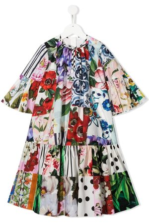 Dolce & Gabbana Girls Printed Dresses - Patchwork floral-print dress