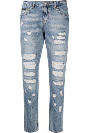 Philipp Plein Women Boyfriend Jeans - Distressed boyfriend jeans