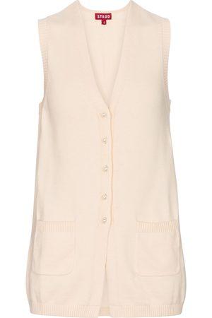Staud Jo cotton and merino wool-blend vest
