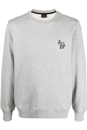 Paul Smith Men Sweatshirts - Signature zebra-embroidered sweatshirt - Grey