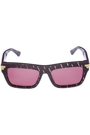 Bottega Veneta Men's 56MM Square Plastic Sunglasses - Burgundy