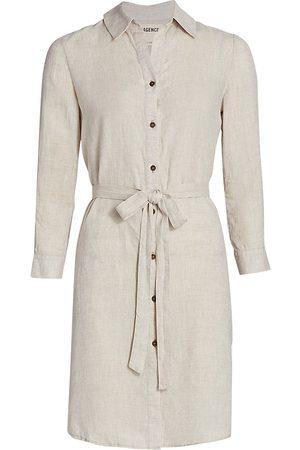 L'Agence Women's Bella Linen Shirtdress - Natural - Size Small