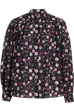 The Kooples Women's Floral Cotton & Silk Band-Collar Shirt - - Size XL
