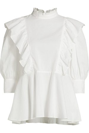 Rhode Women's Sylvie Ruffle Trim Blouse - - Size Medium