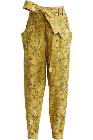 AMUR Women's Floral Belted Cargo Pants - Marigold Garden - Size XS