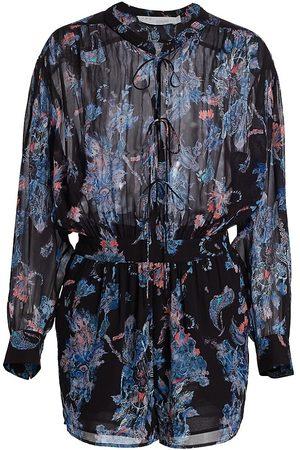 IRO Women's Primrose Peacock-Print Chiffon Romper - Multi - Size 4