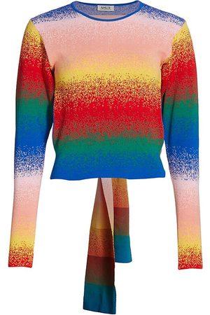 AMUR Women's Wrap Rib Knit Top - Rainbow - Size Large