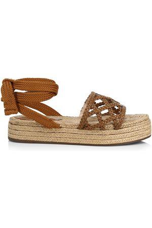 Schutz Women Sandals - Women's Byana Ankle-Tie Platform Espadrille Sandals - Wood - Size 8.5