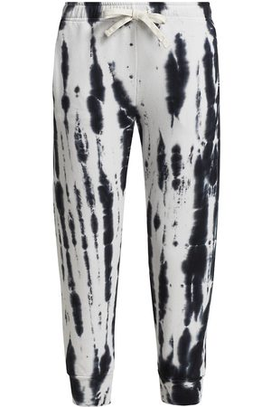 MONROW Women's Supersoft Fleece Painter Tie Dye Cropped Relaxed Sweatpants - Faded - Size XS