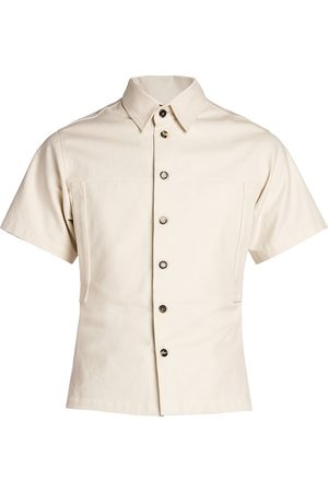 Bottega Veneta Men's Cotton Twill Short-Sleeve Shirt - String - Size 38