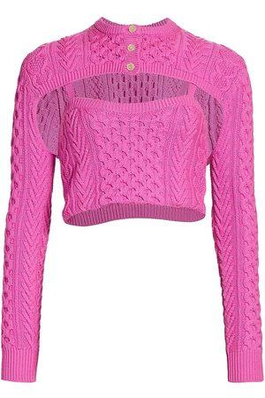 Rosie Assoulin Women's Thousand In One Ways Wool Knit Cardigan - Hibiscus - Size Medium