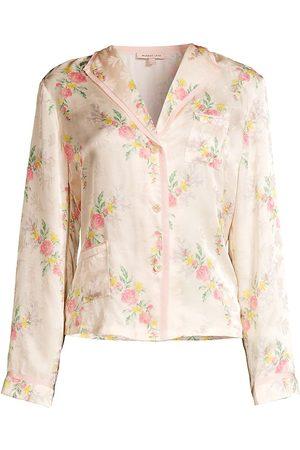 Morgan Lane Women's Floral Silk-Satin Pajama Top - Creme - Size XL