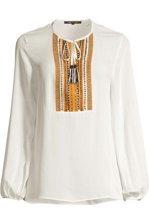 Kobi Halperin Women's Cora Woven-Placket Silk Blouse - Ivory - Size XL