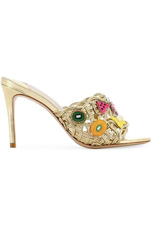 SOPHIA WEBSTER Women's Delphine Furit-Embroidered Mid Block Mule Sandals - Multi Fruits - Size 9.5