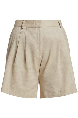 Frame Women's Pleated Linen-Blend Shorts - Khaki Multi - Size 12