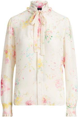 Polo Ralph Lauren Women Polo Shirts - Women's Striped Ruffle-Trim Silk Shirt - Petal Floral - Size 14
