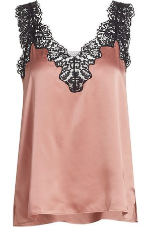 CAMI Women's Lace-Trimmed Silk Blouse - Blushing - Size Large