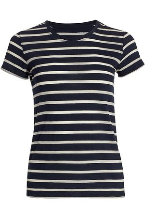 Majestic Women's Striped Cotton T-Shirt - Marine - Size XS