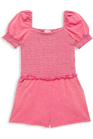 Design History Girls Playsuits - Girl's Smocked Puff-Sleeve Romper - Sparkle - Size 8