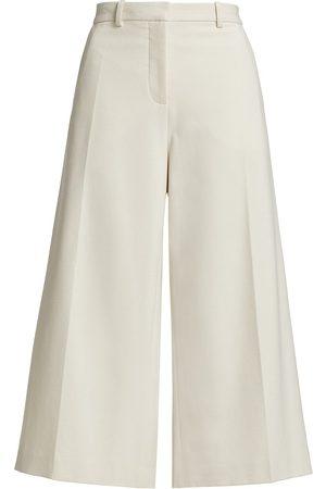 Halston Heritage Women Wide Leg Pants - Women's Theo Cropped Wide-Leg Trousers - Powder - Size 10