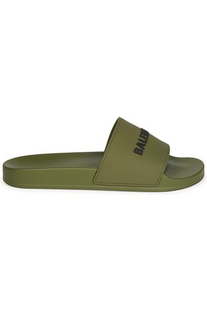 Balenciaga Men's Logo Neon Pool Slides - Khaki - Size 14 Sandals