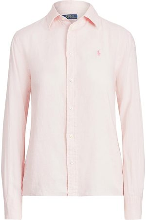 Polo Ralph Lauren Women's Relax-Fit Linen Shirt - Hint Of - Size Large