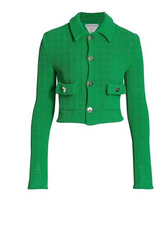 Bottega Veneta Women's Woven Cropped Jacket - Parakeet - Size 10
