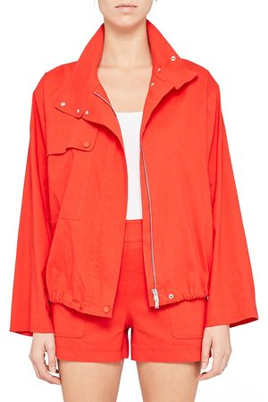 THEORY Women Jackets - Women's Crop Utility Anorak Jacket - Scarlet - Size XS