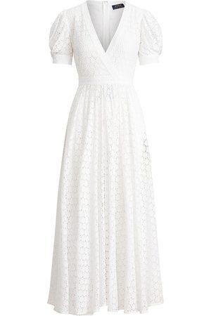 Polo Ralph Lauren Women Casual Dresses - Women's Lace Eyelet Short Puff-Sleeve A-Line Dress - - Size 4