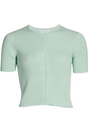 NAADAM Women's Pearl Button Cropped Cardigan - Pale - Size Medium