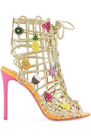SOPHIA WEBSTER Women's Delphine Fruit Lace-Up Sandals - Goldflumel - Size 8.5