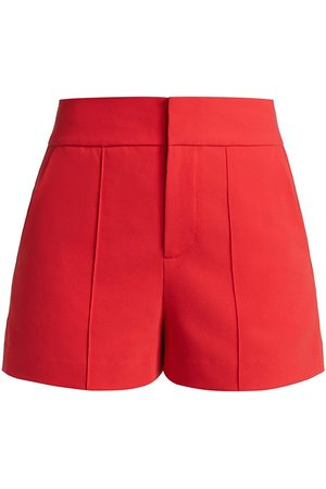 ALICE+OLIVIA Women Shorts - Women's Dylan High-Rise Tab Pintuck Shorts - Bright Poppy - Size 8
