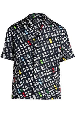 Bottega Veneta Men's Photographic Car-Print Short-Sleeve Shirt - Size 44