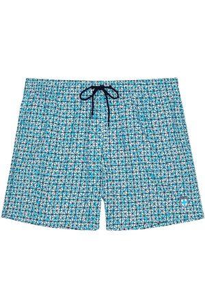 Hom Men's Beach Boxer Printed Swim Trunks - Turquoise Print - Size XL